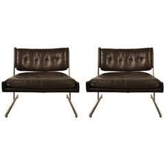 Pair of Probber Leather Lounge Chairs