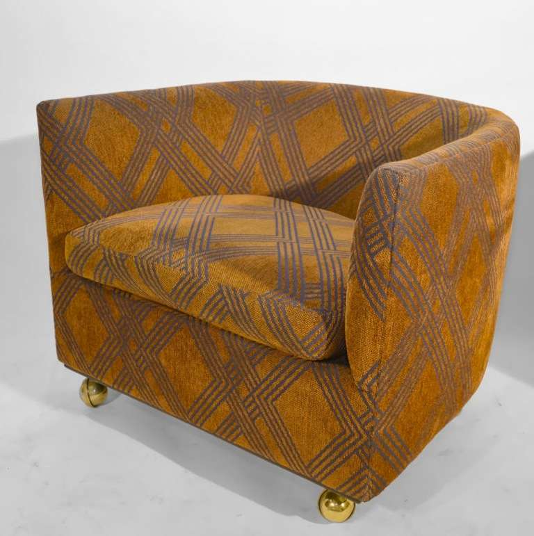 Furniture Feet Coasters: Pair 1970's Tub Chairs On Coaster Ball Feet At 1stdibs