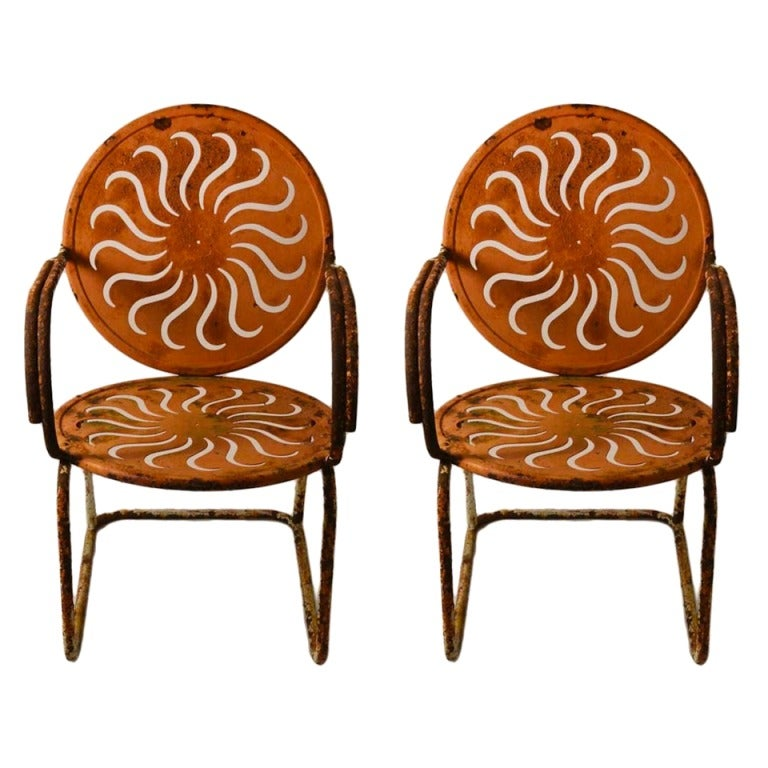Pair of Art Deco Garden Arm Lounge Chairs