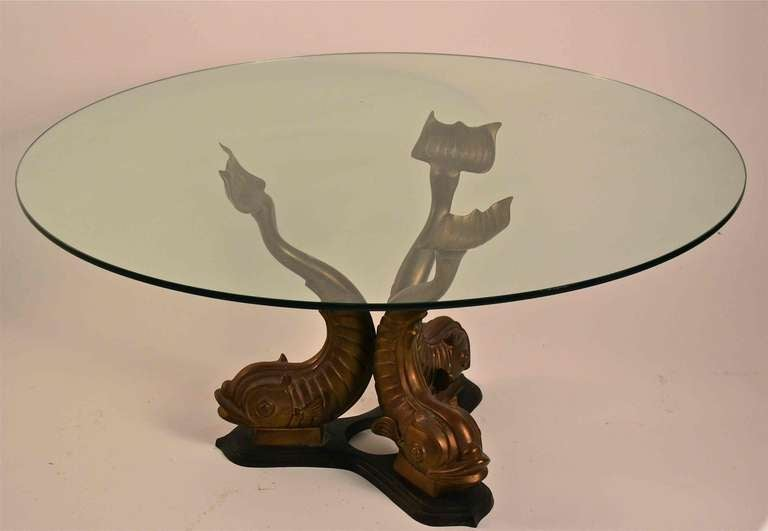 Brass Base Glass Top Dolphin Table At 1stdibs