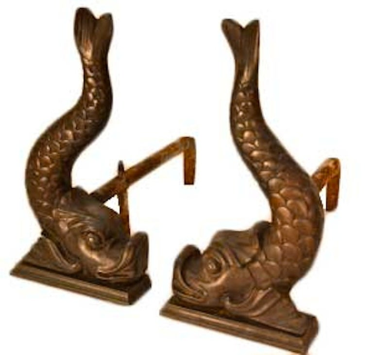 Classical Bronze Fish Form Andirons For Sale