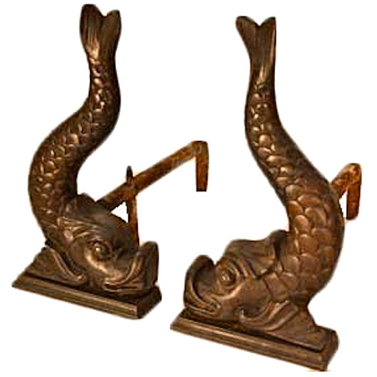 Classical Bronze Fish Form Andirons