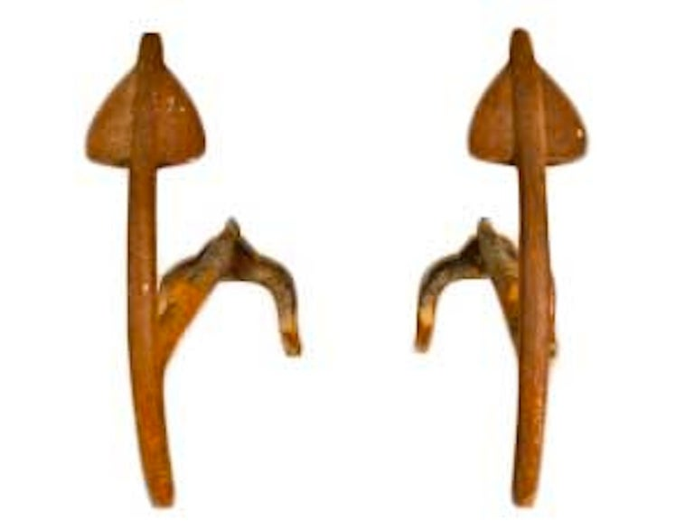 Arrow Form Mid Century Modern Andirons For Sale
