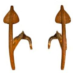 Arrow Form Mid Century Modern Andirons