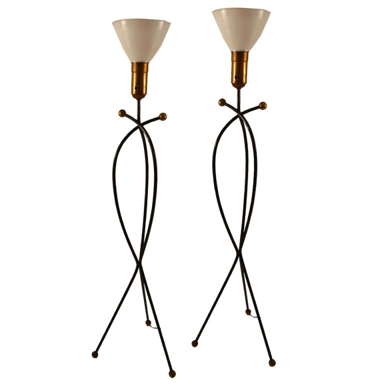 Wonderful Pair Wrought Iron Floor Lamps After Jean Royere For Sale