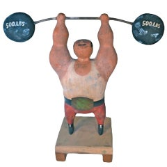 Rare Jere Wood Sculpture of Weightlifter