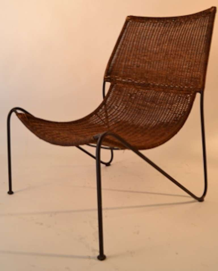 Frederick Weinberg Iron And Wicker Sling Chairs For Good Original Clean Condition