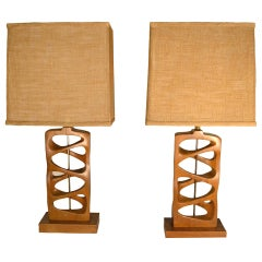 Unique Pair of Hand Carved Mid Century Table Lamps