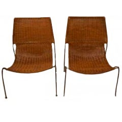 Frederick Weinberg Iron and Wicker Sling Chairs