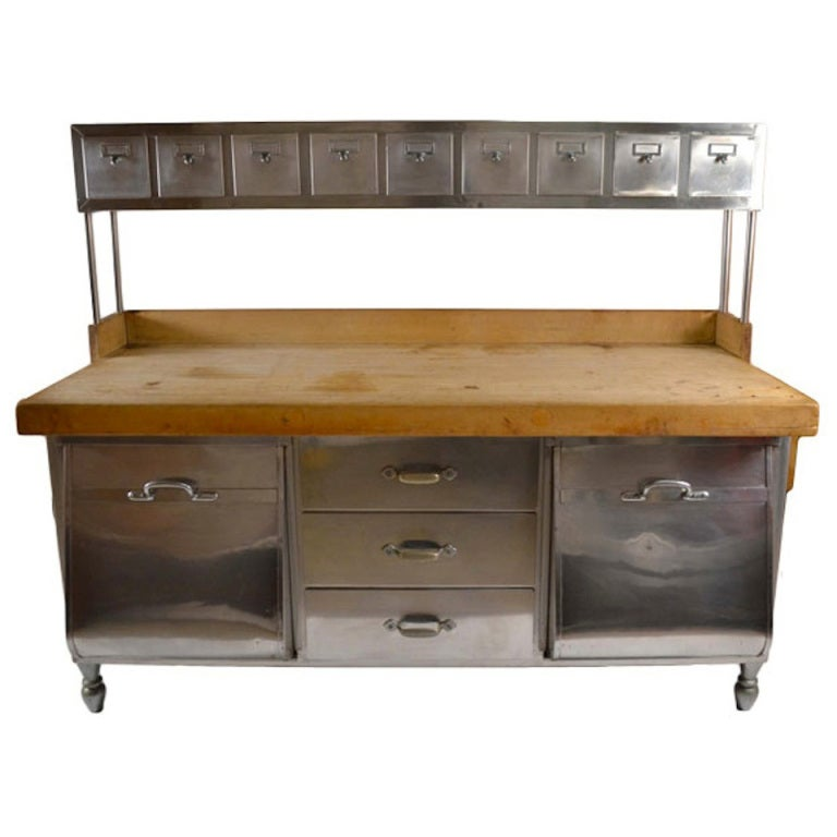 Industrial stainless steel and wood kitchen work station prep table at 1stdibs - Industrial kitchen table stainless steel ...