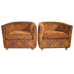 Pair 1970's Tub Chairs on coaster ball feet