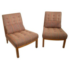 Pair of Armless Lounge Chairs with Ottomans after Wormley