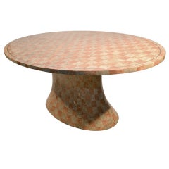Large Oval Top Pedestal Base Tessellated Stone Dining Table