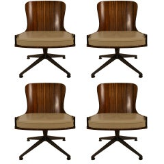 Set of Four Low Slung Swivel Chairs