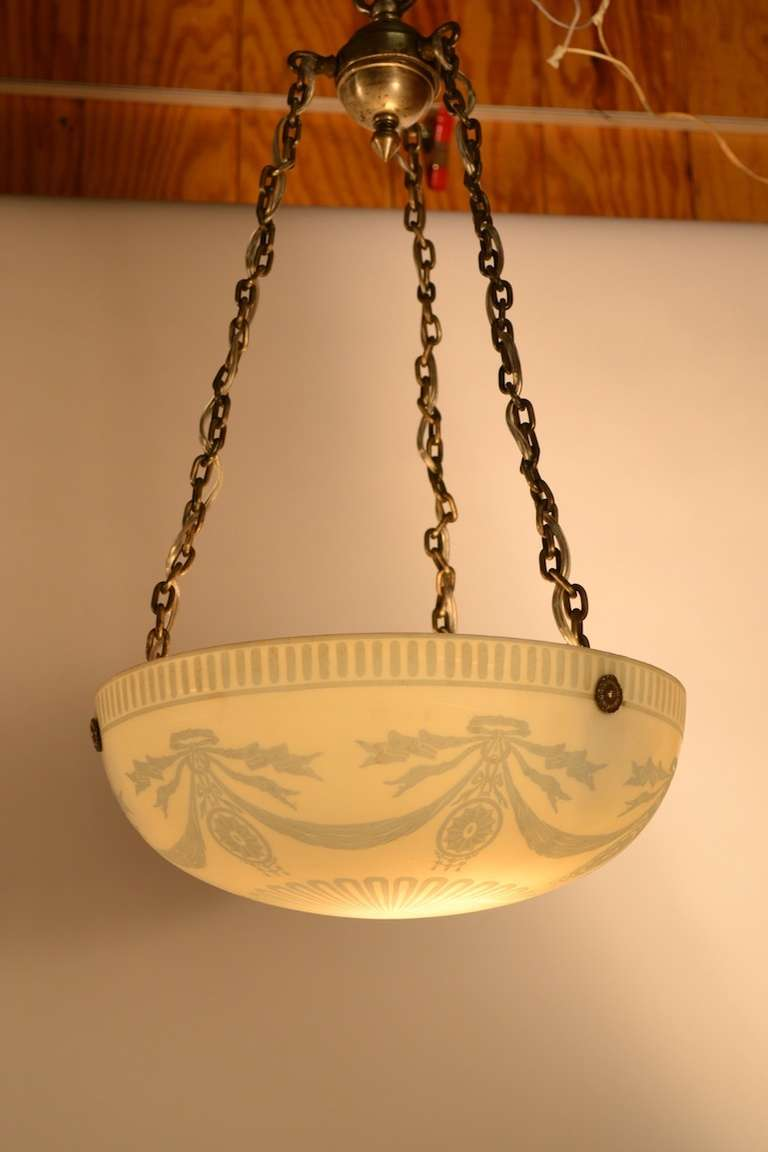Calcite cut back steuben hanging bowl chandelier at 1stdibs delicate two tone light blue and white glass bowl hanging from thick silver plate aloadofball Images