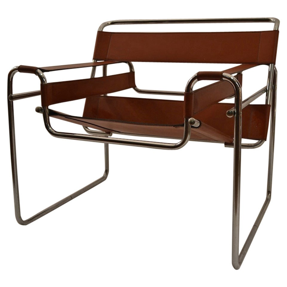 brown leather and chrome wassily chair at 1stdibs. Black Bedroom Furniture Sets. Home Design Ideas