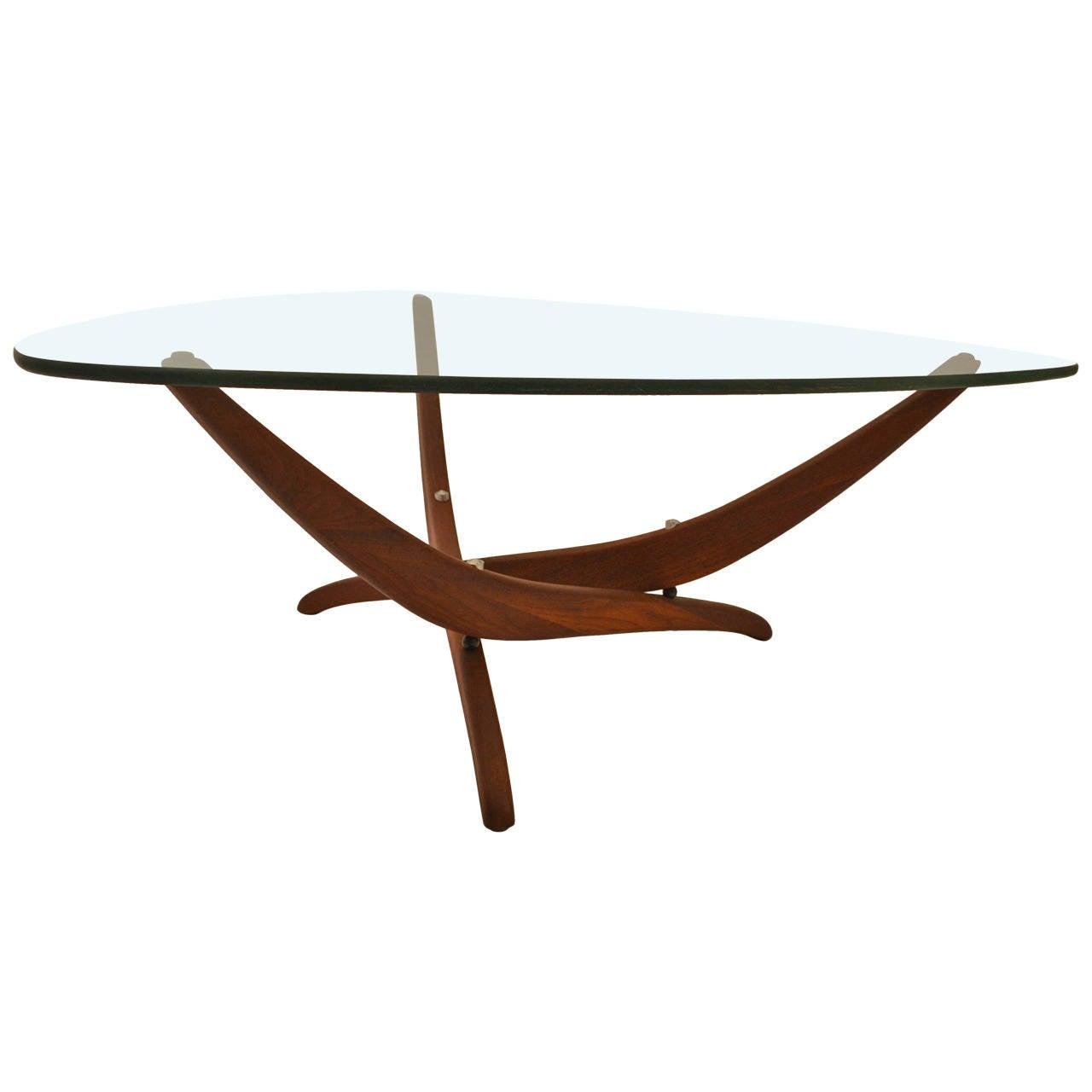 Elegant Nickel Plate, Triangular Glasstop Table With Sculptural Walnut  Base 1