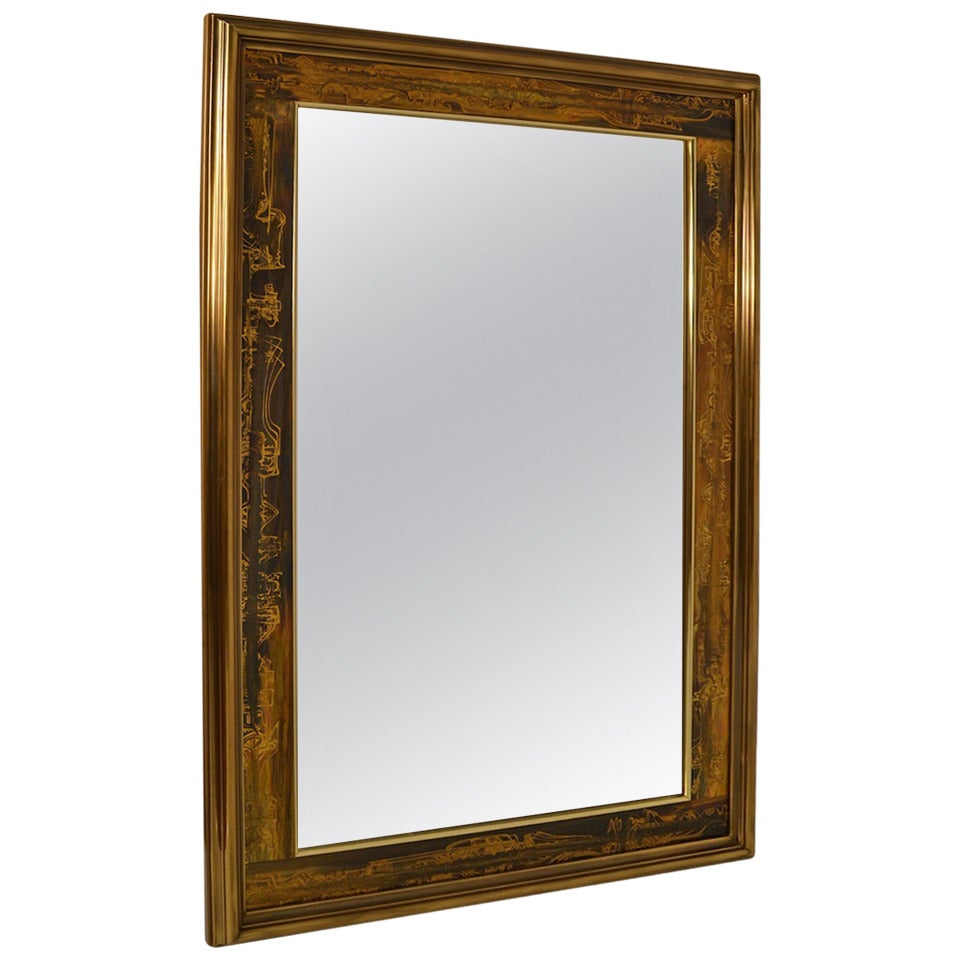 Large brutalist acid wash mastercraft gold bronze frame for Large framed mirrors