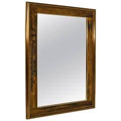 Large Brutalist Acid Wash Mastercraft Gold Bronze Frame Beveled Mirror