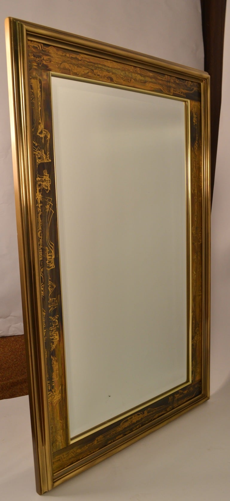 Large brutalist acid wash mastercraft gold bronze frame for Big framed mirror