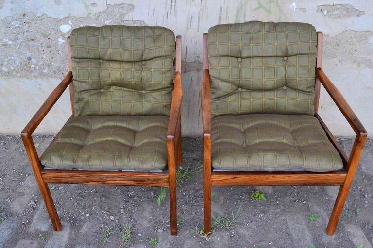 Danish Pair Ole Wanscher Rosewood Arm Chairs For Sale