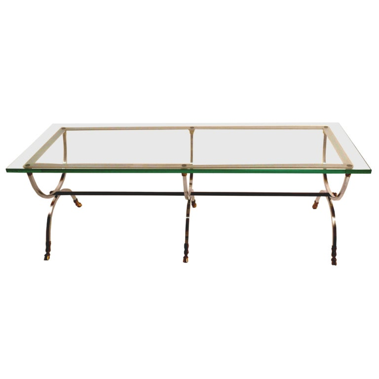 Artimeta Attributed Square Metal And Glass Coffee Table At: Polished Steel Brass And Glass Coffee Table After Jansen