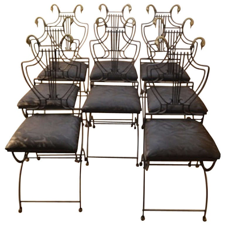 Set of Eight Italian Regency Lyre Back Classical Form Dining Chairs