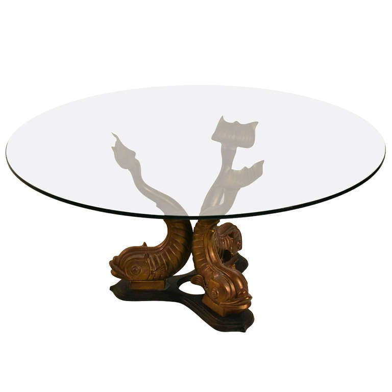 Brass Base Glass Top Dolphin Table 1