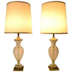 Pair Glass Lamps