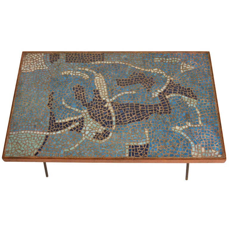 Mosaic Tile Top Table At 1stdibs