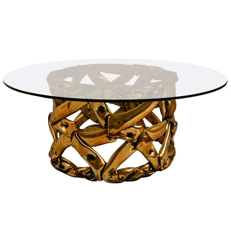 gold tone resin brutalist school coffee table at 1stdibs With gold tone coffee table