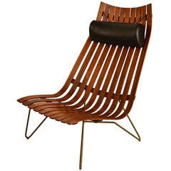 Rosewood Slat Lounge Chair by Hans Battrud for Scandia