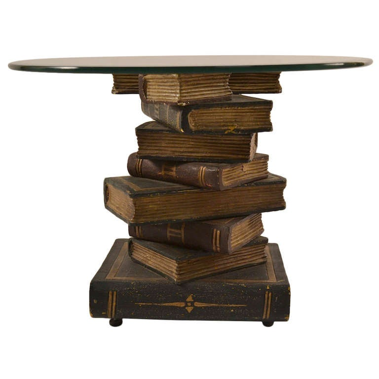 Stacked Book Form Glass Top Table At 1stdibs