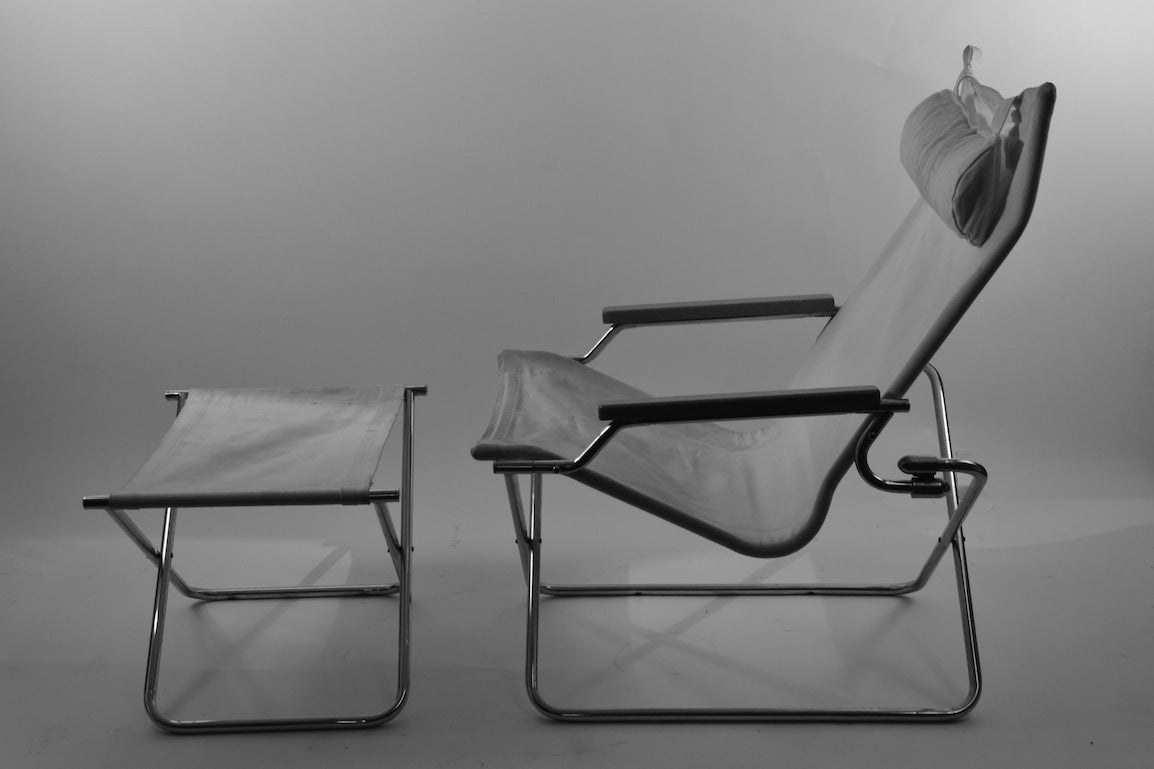 pair uchida folding canvas chairs with one ottoman at 1stdibs