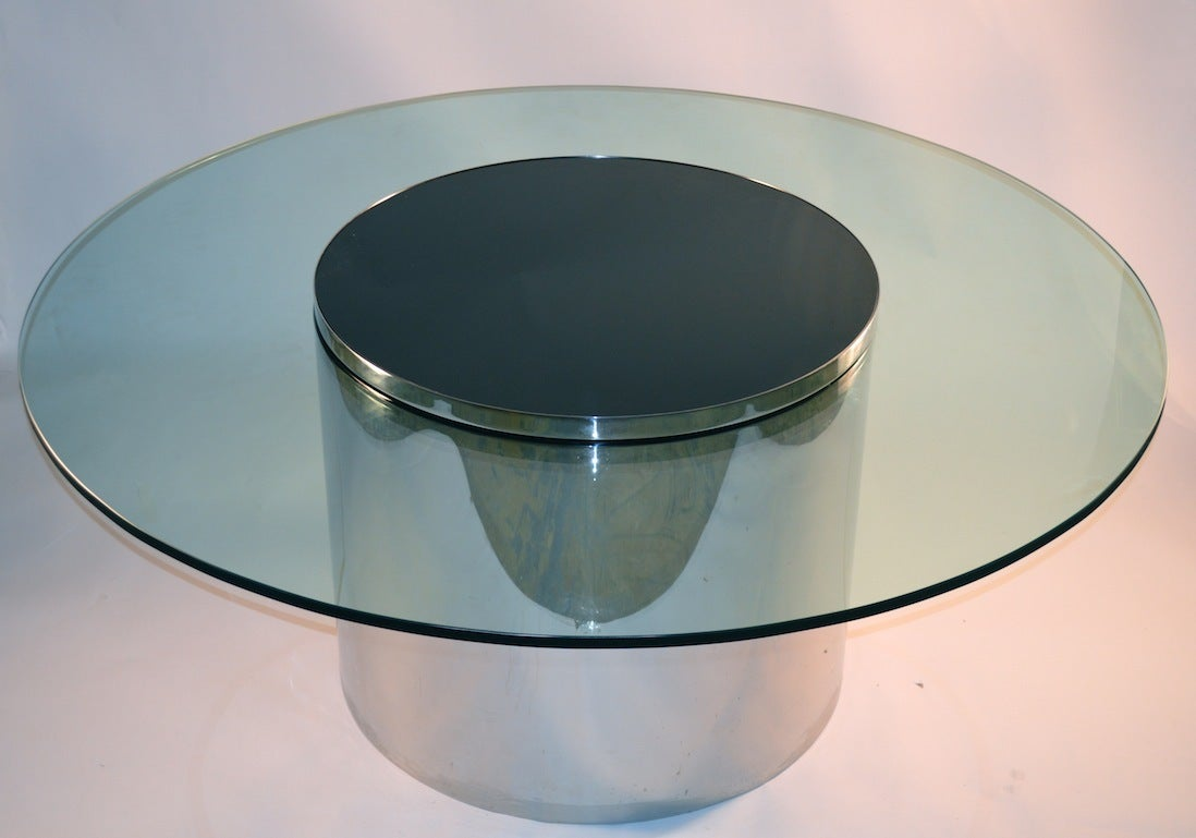 Phenomenal Round Glass And Chrome Dining Table At 1stdibs