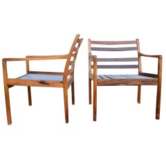 Pair Ole Wanscher Rosewood Arm Chairs