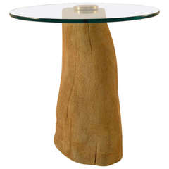 Tree Trunk Base Plate Glass Top Table