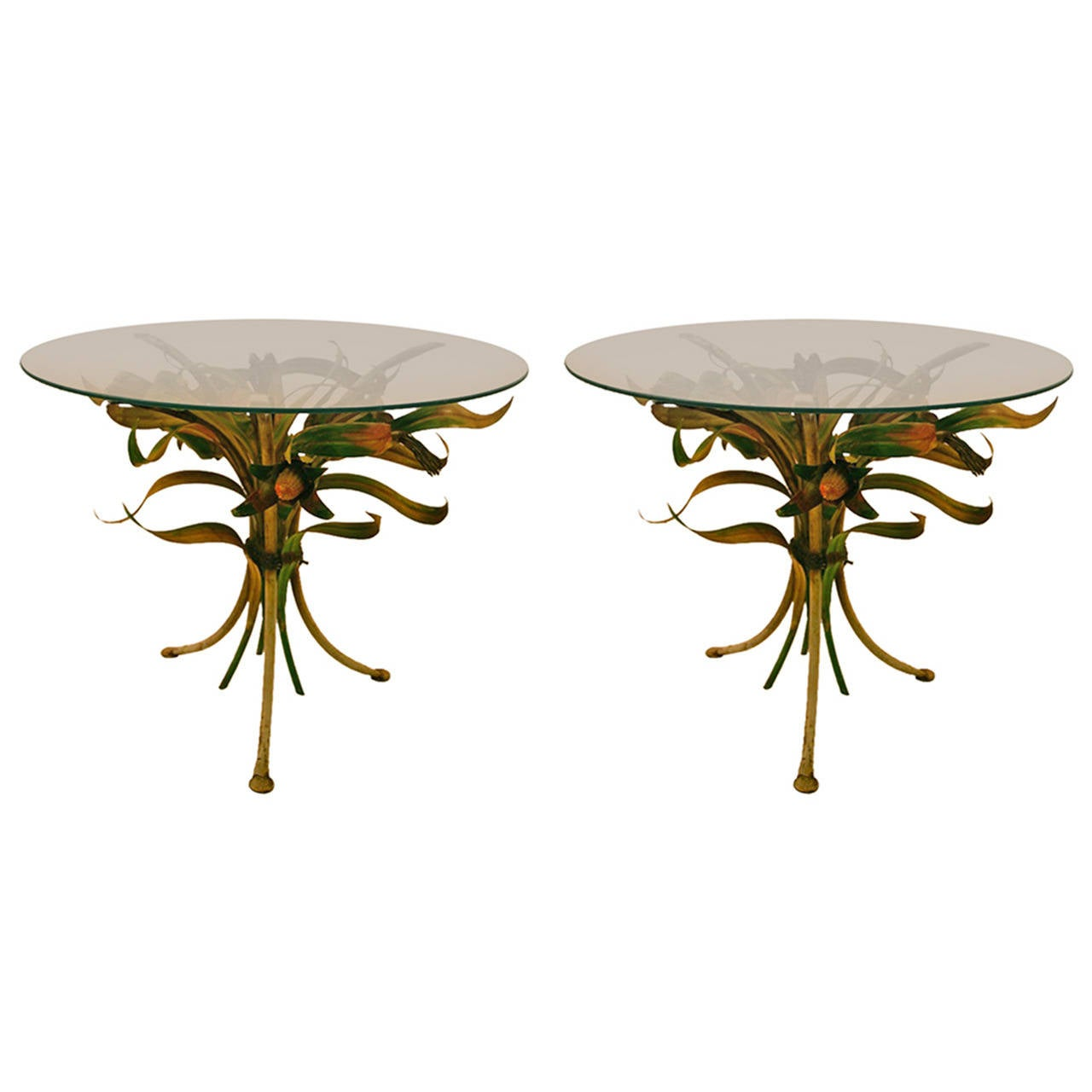Pair Of Polychrome Italian Metal And Glass Foliate Tables At 1stdibs