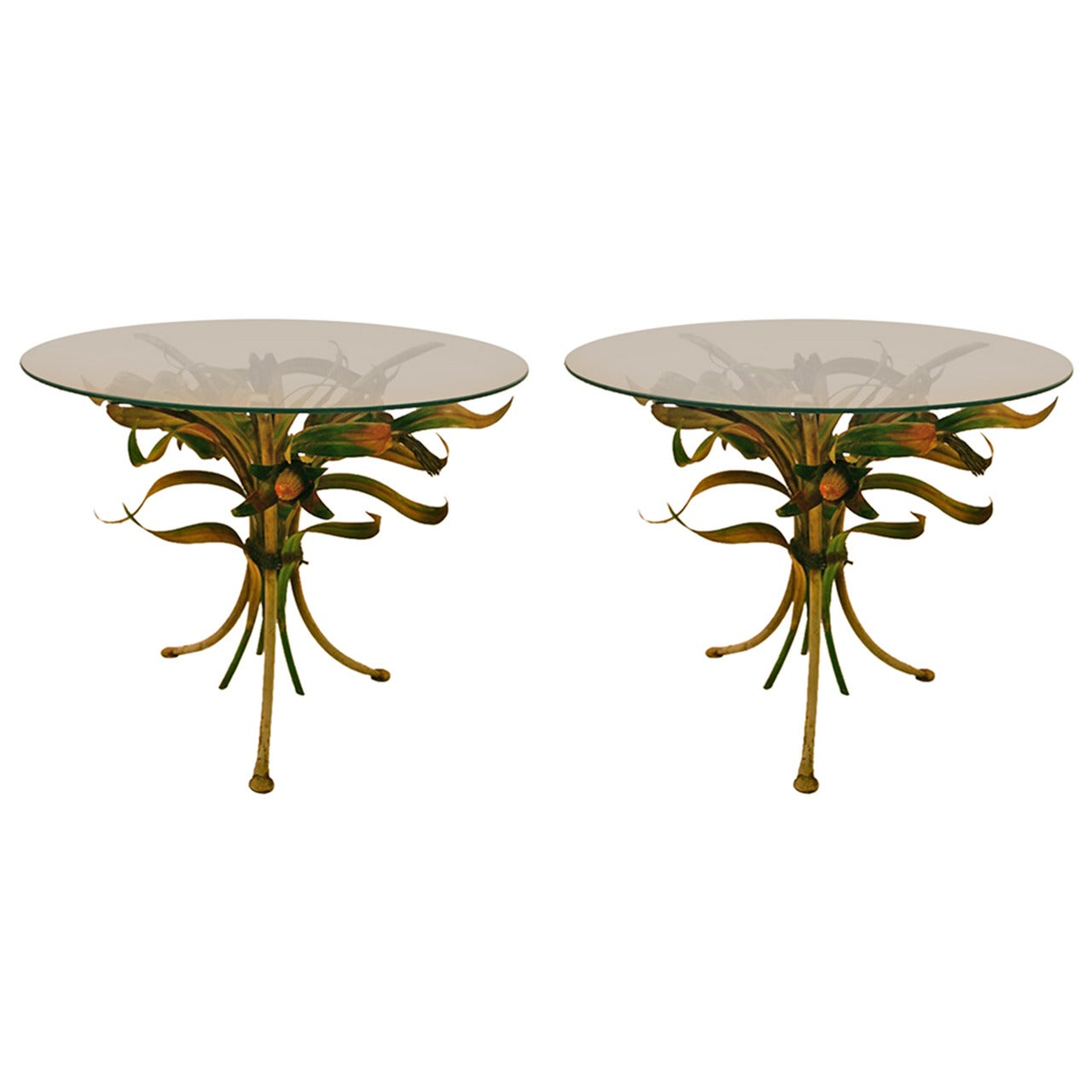 Pair of Polychrome Italian Metal and Glass Foliate Tables