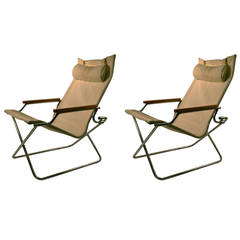 Pair Uchida Folding Canvas Chairs with one Ottoman