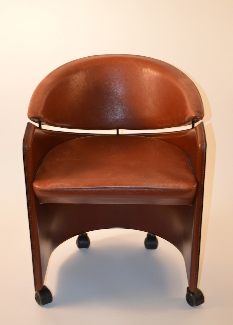 Set Of Eight Italian Leather Dining Chairs At 1stdibs