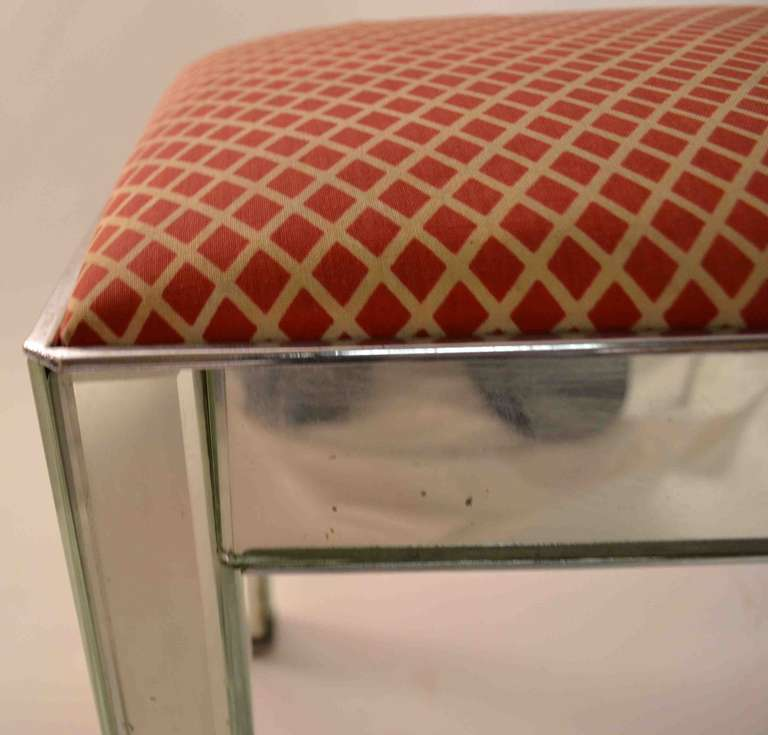 art deco mirrored vanity stool pouf ottoman at 1stdibs. Black Bedroom Furniture Sets. Home Design Ideas