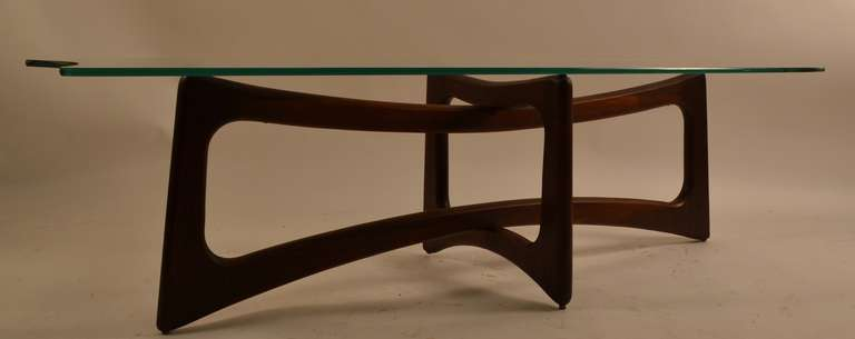 Adrian Pearsall Glass Top Surfboard Coffee Cocktail Table At 1stdibs