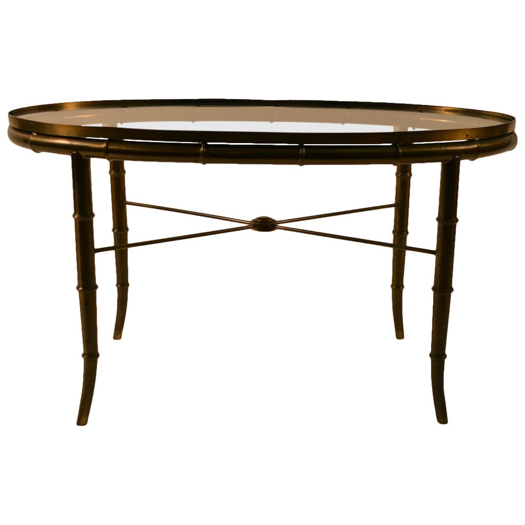 Oval Espresso Coffee Table: Elegant Diminutive Oval Coffee Cocktail Table By