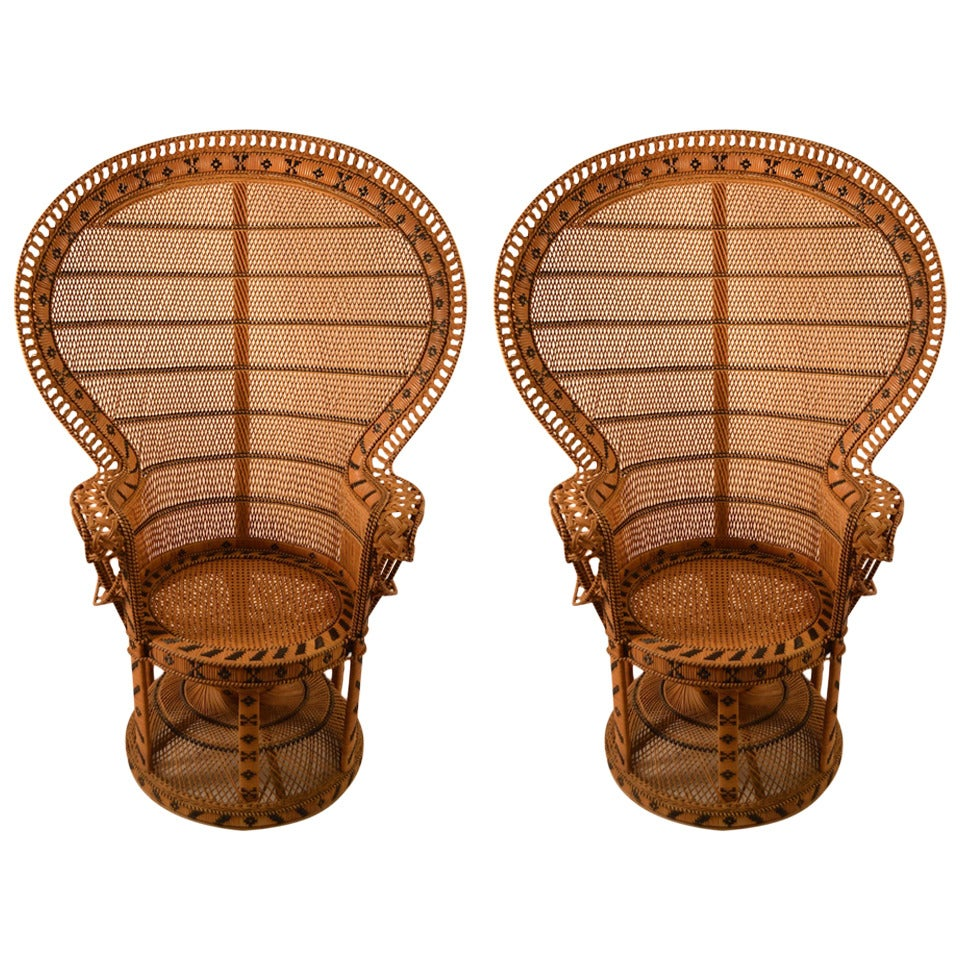 Pair of Woven Wicker Peacock Chairs at 1stdibs
