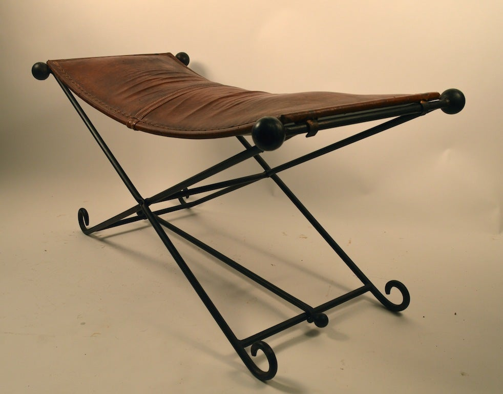 Elegant Wrought Iron And Leather Bench At 1stdibs