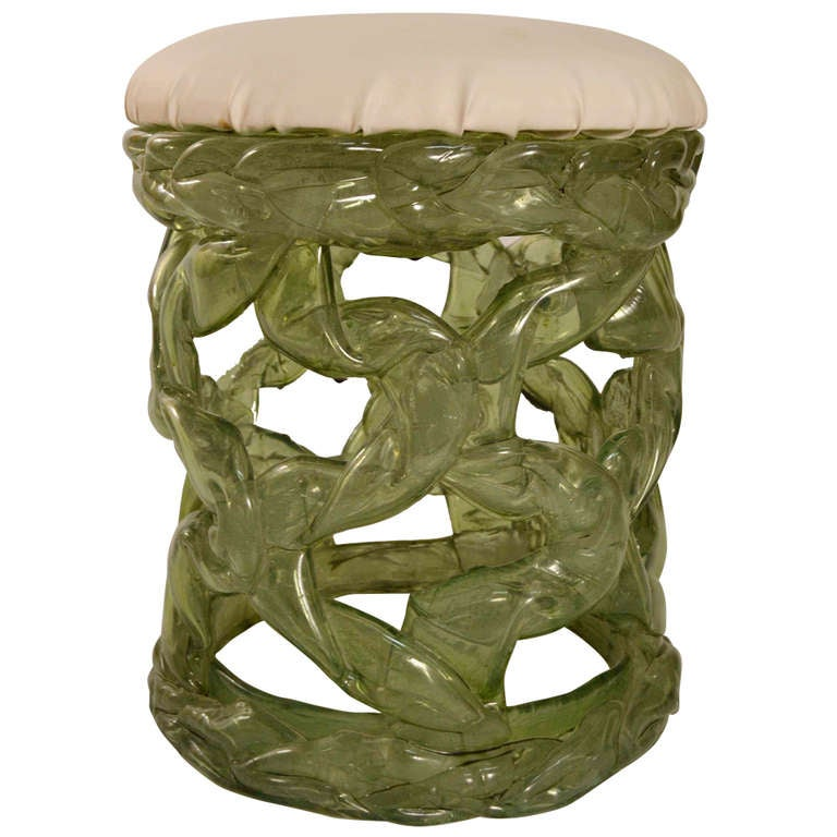 Translucent Plastic Resin  Stool in the Brutalist Style