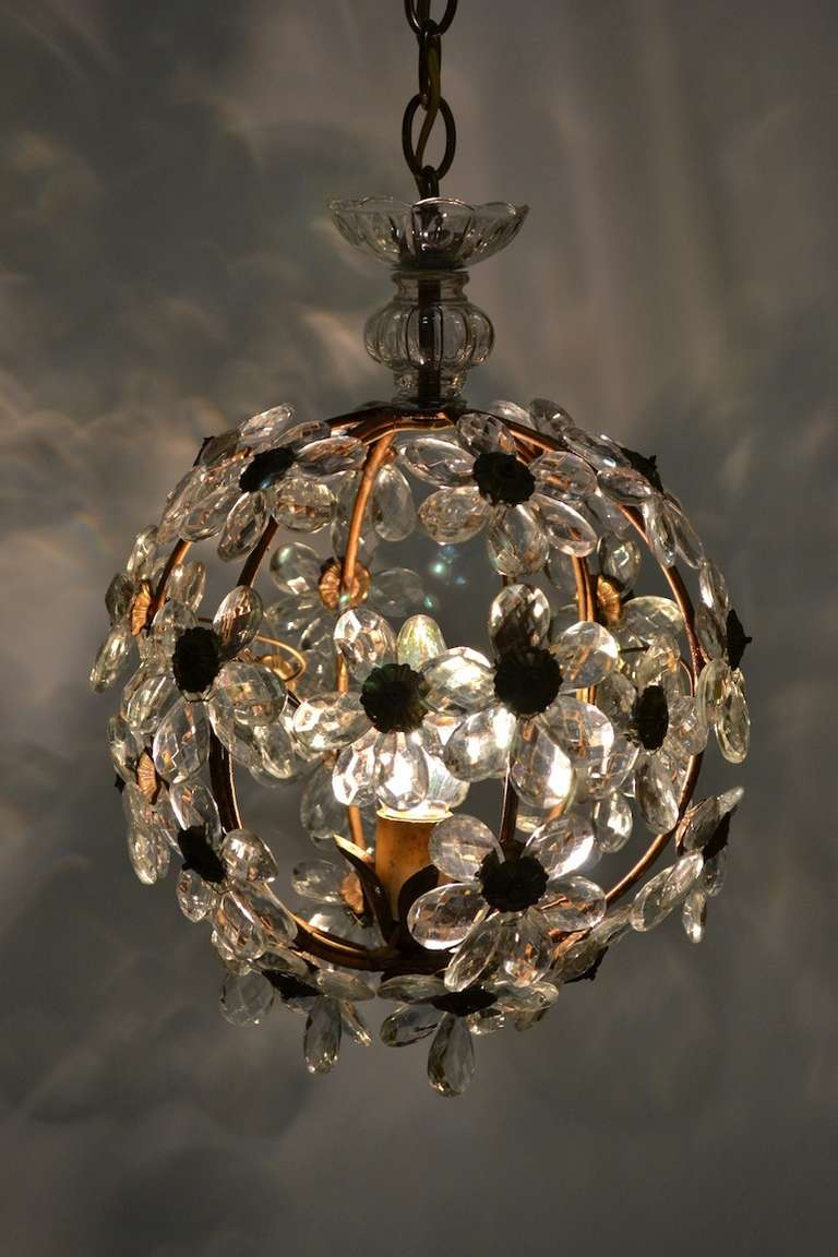 Floral Glass Ball Chandelier At 1stdibs