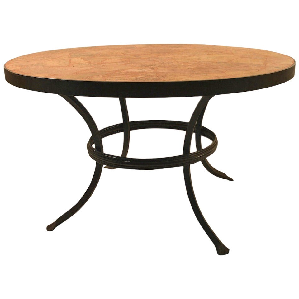 Iron and stone coffee cocktail table for sale at 1stdibs for Stone and iron coffee table