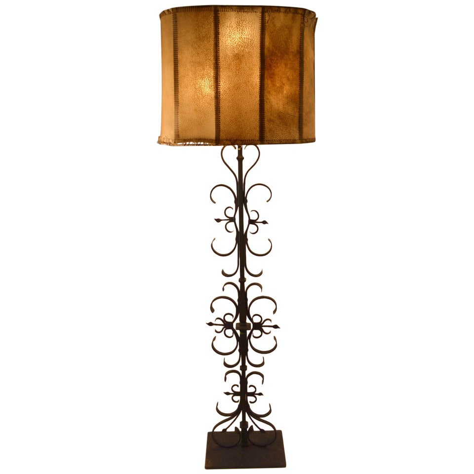 wrought iron spanish gothic style floor lamp for sale at. Black Bedroom Furniture Sets. Home Design Ideas